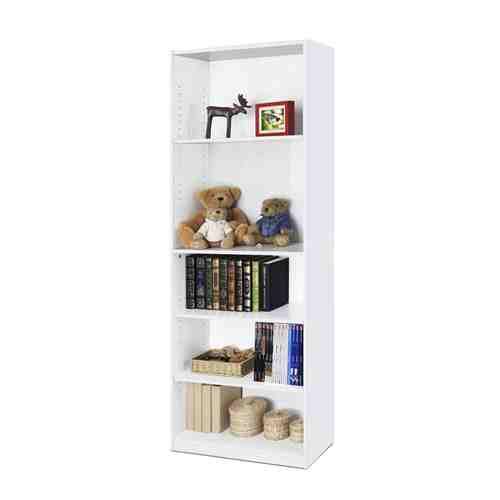 Modern 5-Shelf Bookcase in White Wood Finish -   - Magneta Brand