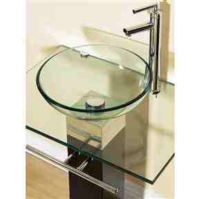 23-inch Bathroom Vanity Set with Clear Glass Sink -   - Magneta Brand