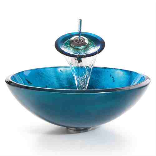 Round Blue Tempered Glass Vessel Bathroom Sink -   - Magneta Brand