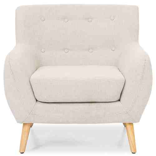 Light Grey Upholstered Tufted Armchair with Mid-Century Style Wood Legs -   - Magneta Brand