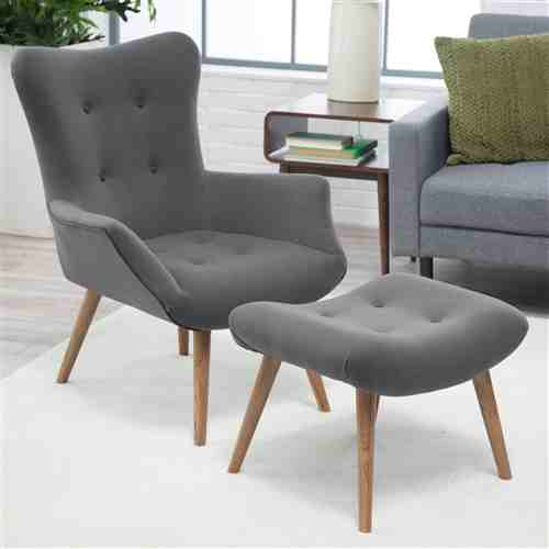 Modern Classic Mid-Century Style Gray Accent Chair and Ottoman -   - Magneta Brand