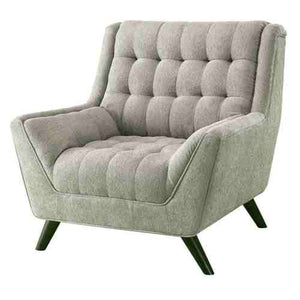 Grey Upholstered Chenille Mid-Century Tufted Padded Arm Chair -   - Magneta Brand
