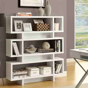 White Modern Bookcase Bookshelf for Living Room Office or Bedroom -   - Magneta Brand