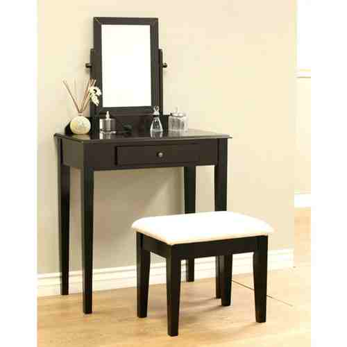 Contemporary Espresso Vanity Set with Beveled Mirror -   - Magneta Brand