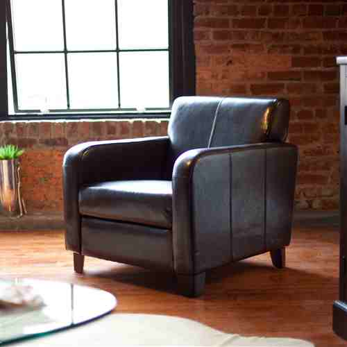 Dark Brown Leather Upholstered Club Chair with Wood Frame and Legs -   - Magneta Brand