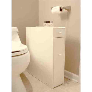 Space Saving Bathroom Floor Cabinet in White Wood Finish -   - Magneta Brand