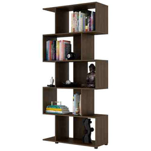 Modern Zig-Zag Bookcase with 5-Shelves in Dark Brown Finish -   - Magneta Brand