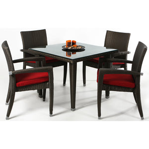 Rattan - 5pc Patio Table Set -  Outdoor - Magneta Brand