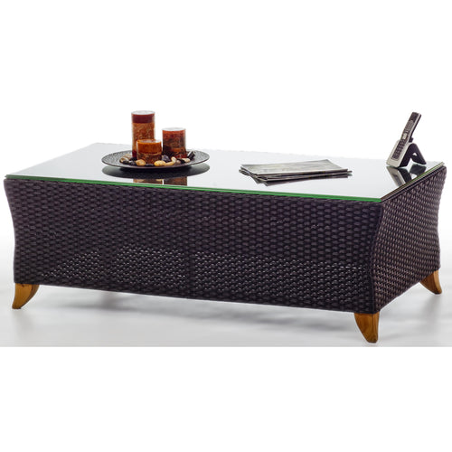 Rattan CoffeeTable/w Glass Top -  Outdoor - Magneta Brand