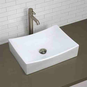 Modern Rectangular White Ceramic Vessel Bathroom Sink with Curved Interior -   - Magneta Brand
