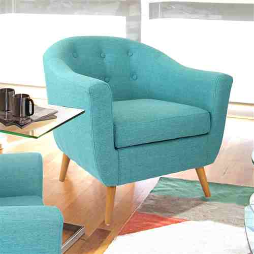 Turquoise Modern Mid-Century Style Arm Chair with Solid Wood Legs -   - Magneta Brand