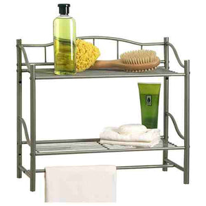 Wall Mounted Bathroom Storage Shelf in Pearl Nickel Metal Finish -   - Magneta Brand