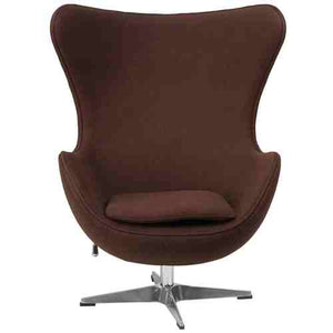 Brown Wool Fabric Upholstered Egg Shaped Modern Arm Chair -   - Magneta Brand