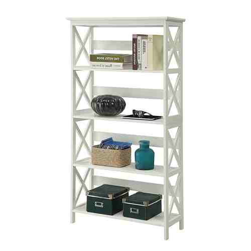 Glossy White 5-Shelf Bookcase -   - Magneta Brand