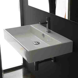 Modern Rectangular Ceramic Vessel Bathroom Vanity Sink with Single Hole -   - Magneta Brand