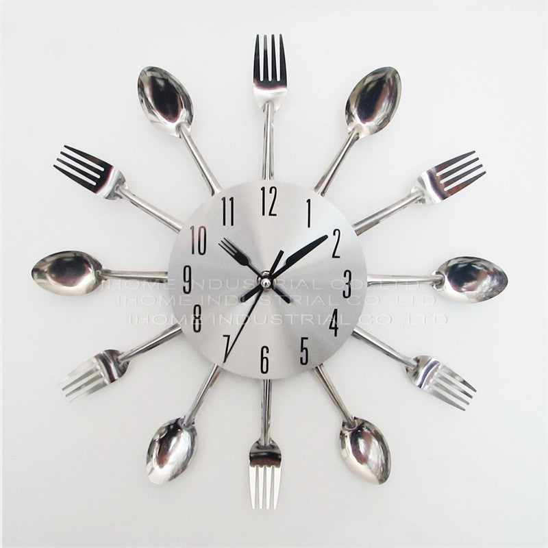 2017 New Modern Kitchen Wall Clock Sliver Cutlery Clocks Spoon Fork Creative Wall Stickers Mechanism Design Home Decor Horloge -   - Magneta Brand