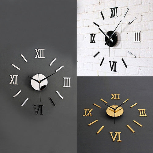 3D Acrylic Mirror Surface Roman Numerals Wall Clock Stickers Home DIY Decor -   - Magneta Brand