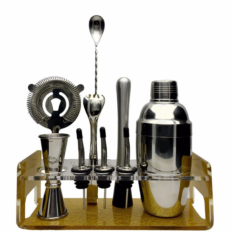Greenhill Premium Bar Tool Set / 8 Pieces Barware Cocktail Shaker Kit (18/8), Muddler, Jigger, Spoon, Pourer, Ice tong & Stand -   - Magneta Brand