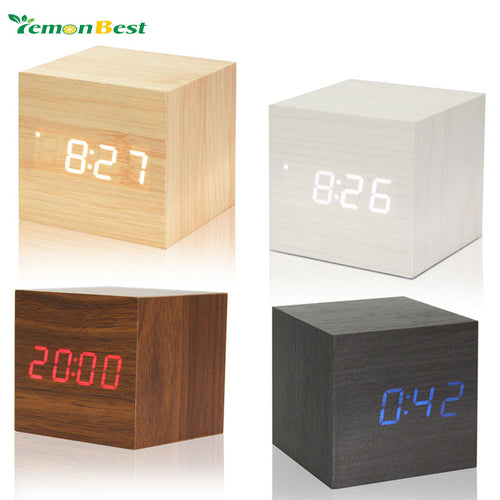 Cube wooden LED Alarm Clock despertador Temperature Solids Voice Control LED display electronic desktop Digital clocks Calendar -   - Magneta Brand