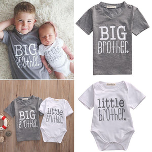 Little Brother Baby Boy Romper and Big Brother T-shirt Family Matching Clothes -   - Magneta Brand