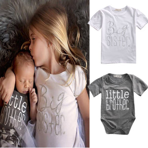 Matching Cotton Clothes Big Sister T-shirt Little Brother Romper Outfit -   - Magneta Brand