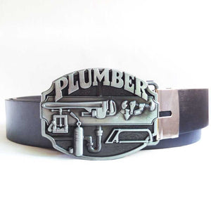 Stylish and humorous Plumber Belt Buckle with High Quality Belt - I take pride in my job -   - Magneta Brand
