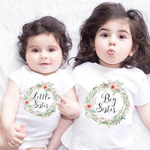Matching Cotton Clothes Big Sister T-shirt Little Sister Romper Outfit -   - Magneta Brand