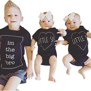 Matching Cotton Clothes Big Brother T-shirt Little Sister Romper Outfit -   - Magneta Brand