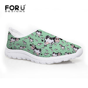 Women's Cows Design Print Comfy Shoes -   - Magneta Brand