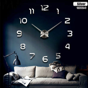 Fashion 3D big size wall clock mirror sticker DIY brief living room decor meetting room wall clock -   - Magneta Brand