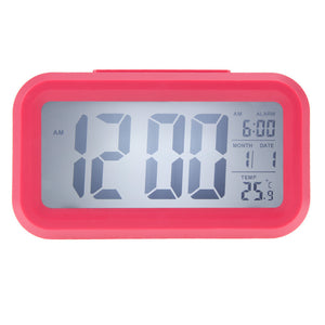 Time Date Alarm Clock Temperature Display LED Alarm Clock Light-activated Sense Snooze Function Calendar Digital Clock Reveil -   - Magneta Brand