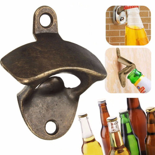 Vintage Bronze Wall Mounted Opener Wine Beer Soda Glass Cap Bottle Opener Kitchen Bar Gift -   - Magneta Brand