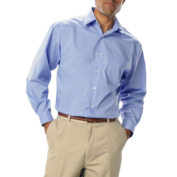 Blue Generation Men's Long Sleeve Easy Care Stretch Poplin Shirt