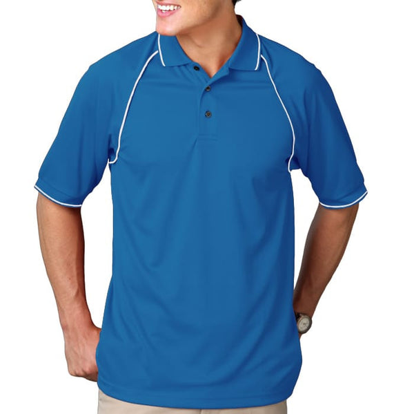 Blue Generation Men's Wicking Polo With Contrast Piping