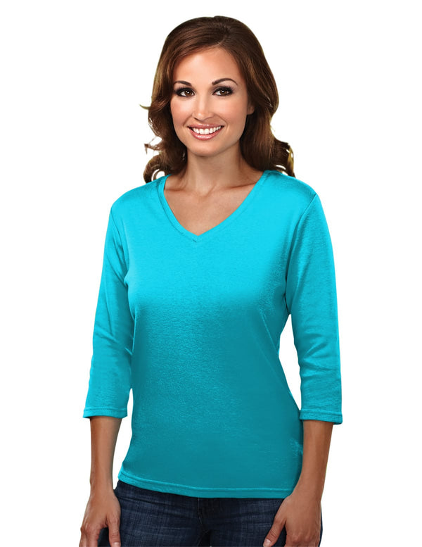 Tri-Mountain  Women's Cotton Interlock 3/4 Sleeve V-Neck Knit Shirt