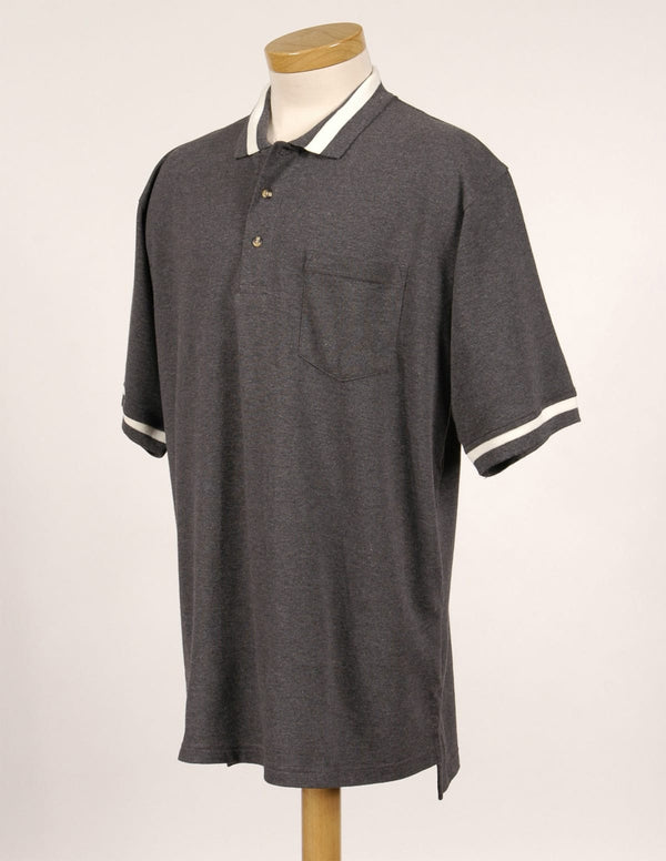Tri-Mountain Men's 60/40 Pique Knit Shirt With Striped Collar & Cuffs