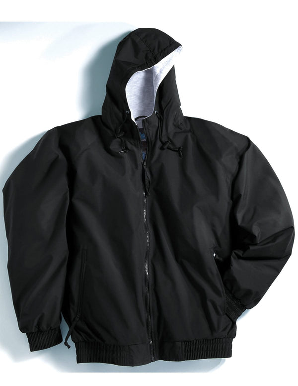 Tri-Mountain Hooded Nylon Jersey Lined Jacket