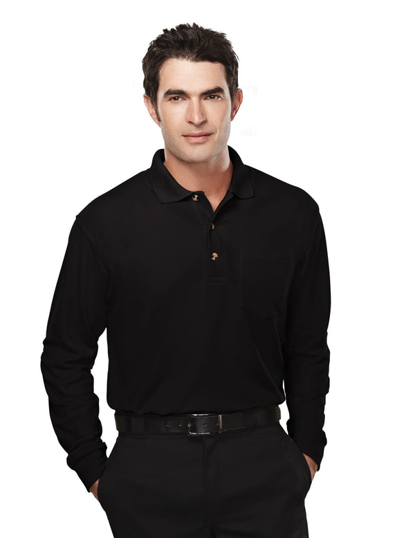 Tri-Mountain Men's 60/40 Long Sleeve Pique Polo W/Pocket