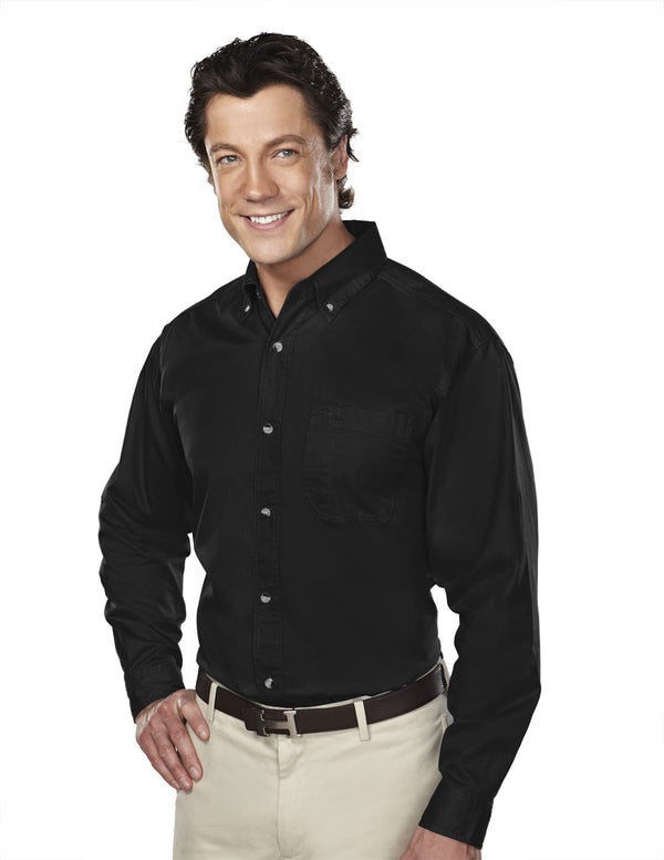 Tri-Mountain Men's 60/40 Stain-Resistant Long Sleeve Twill Shirt