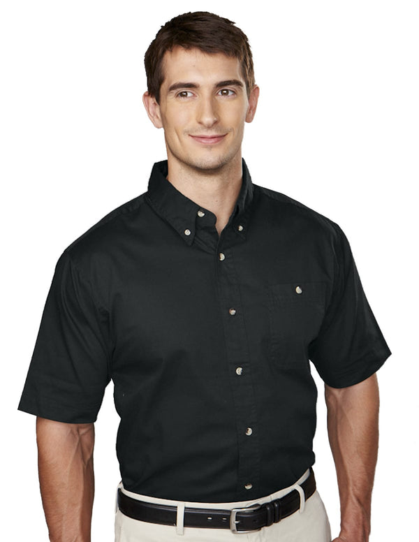 Tri-Mountain Men's Short Sleeve Stonewashed Cotton Twill Shirt