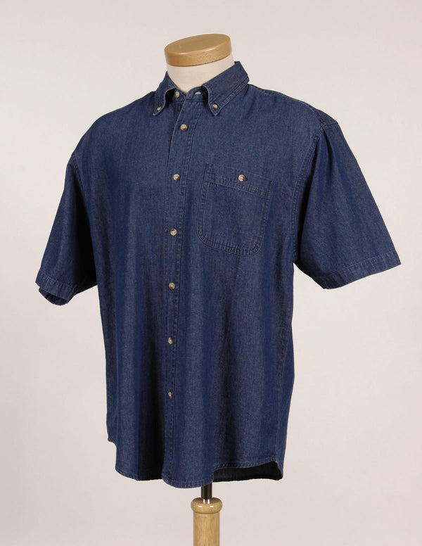 Tri-Mountain Short Sleeve Stonewashed Denim Shirt