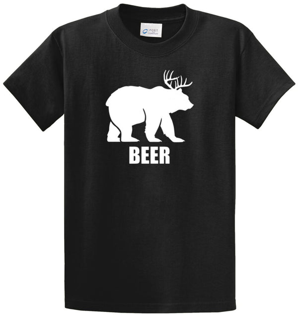 Beer - Bear And Deer Printed Tee Shirt