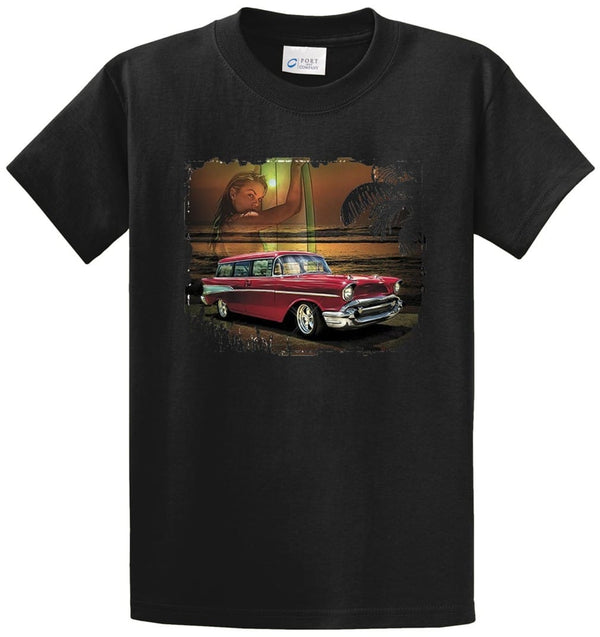 Antique Car On Beach Printed Tee Shirt
