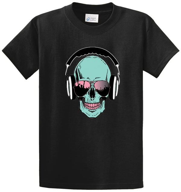 Skull With Headphones Printed Tee Shirt