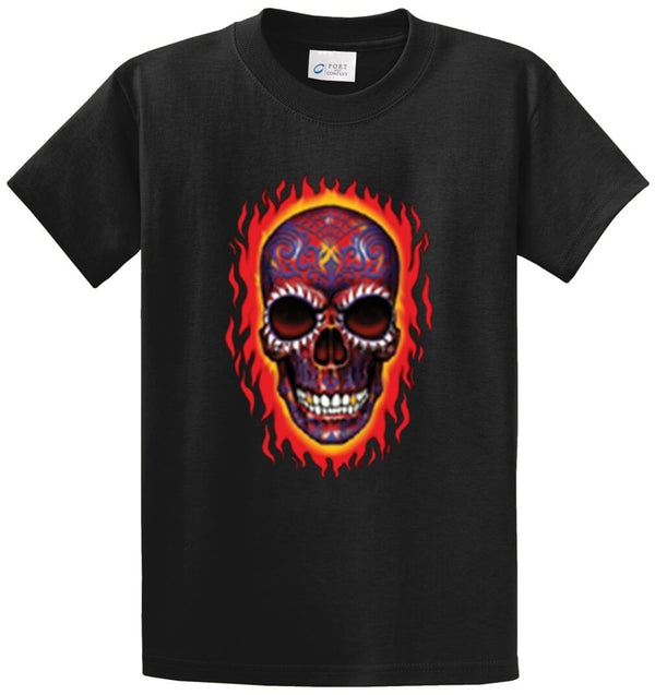 Flaming Skull Printed Tee Shirt