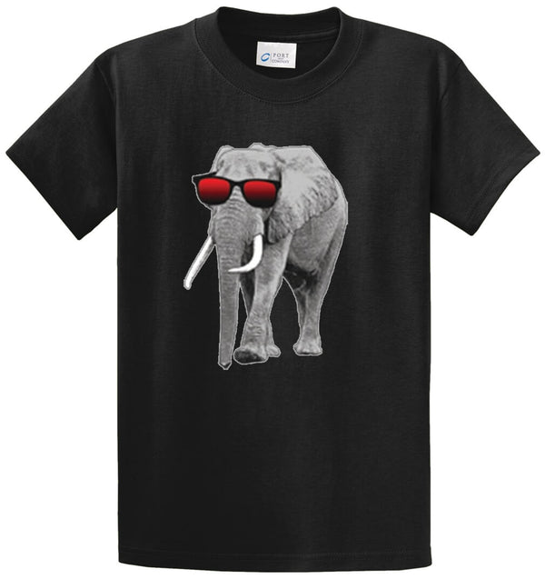 Elephant With Sunglasses Printed Tee Shirt