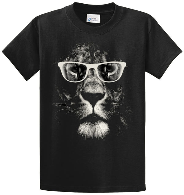 Lion With Glasses Printed Tee Shirt