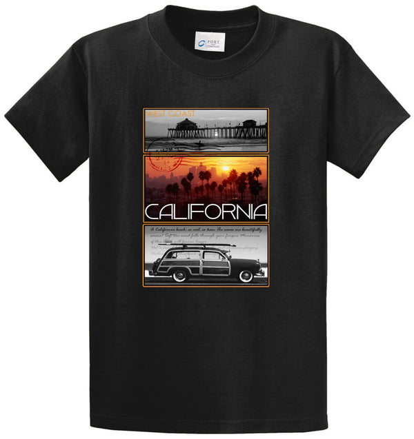West Coast Postcard Pier Palm California Printed Tee Shirt