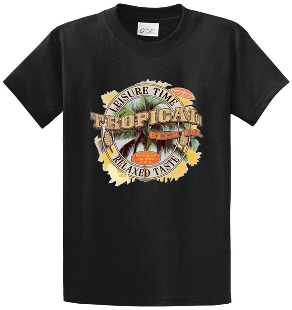 Leisure Time Tropical Beer Co. Relaxed Taste Printed Tee Shirt