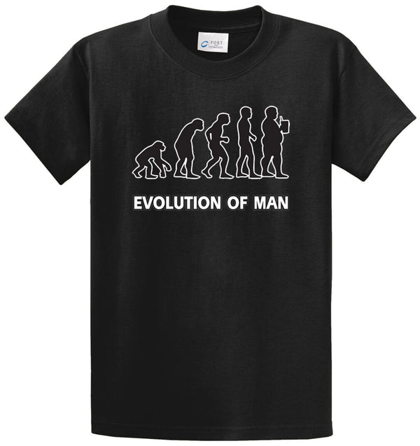Evolution Of Man Drinking Printed Tee Shirt